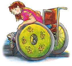 Lisa sitzt im Rollstuhl